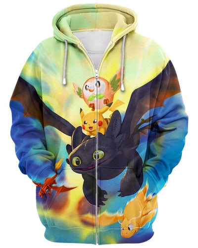 Dragon World - All Over Apparel - Zip Hoodie / S - www.secrettees.com