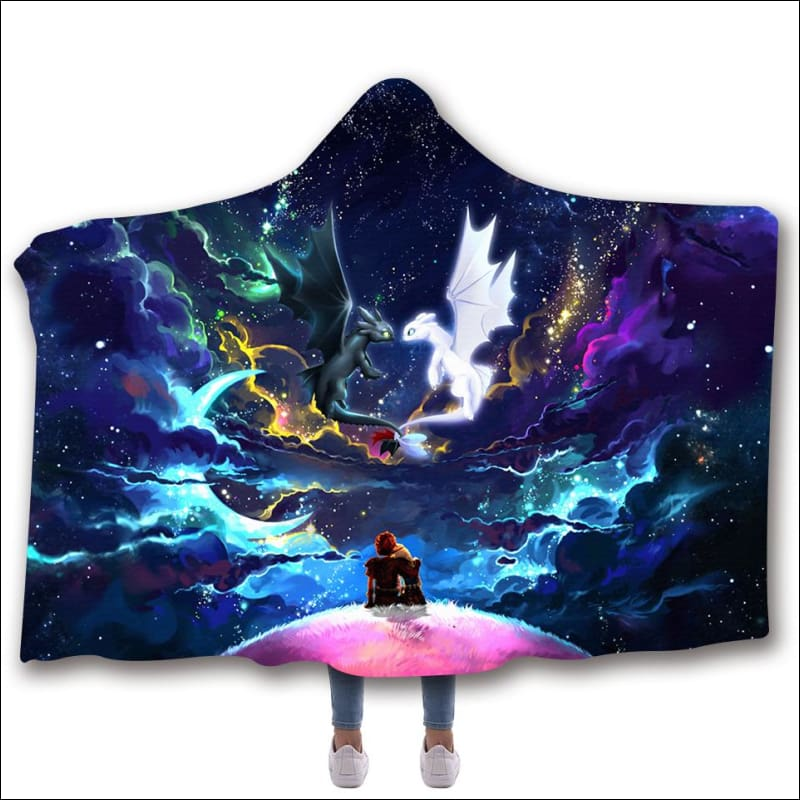 Dragons Colorful Night Love Story Hooded Blanket - Disney - Hooded Planket / ADULT 80x60 - www.secrettees.com