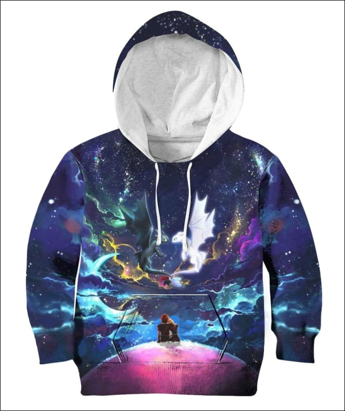 Dragons Colorful Sky Night - All Over Apparel - Hoodie / S - www.secrettees.com
