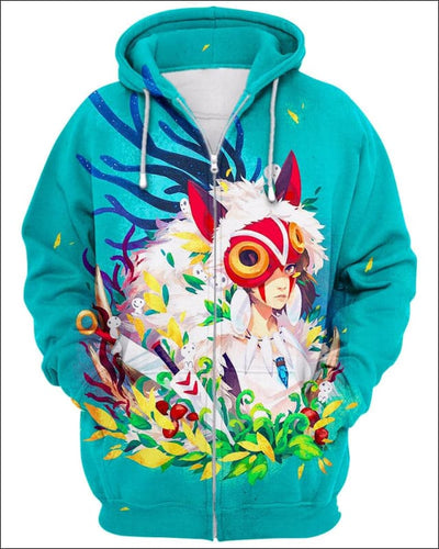 Forest Warrior - All Over Apparel - Zip Hoodie / S - www.secrettees.com