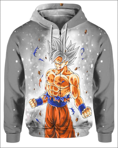 Goku Ultra instinct - All Over Apparel - Zip Hoodie / S - www.secrettees.com