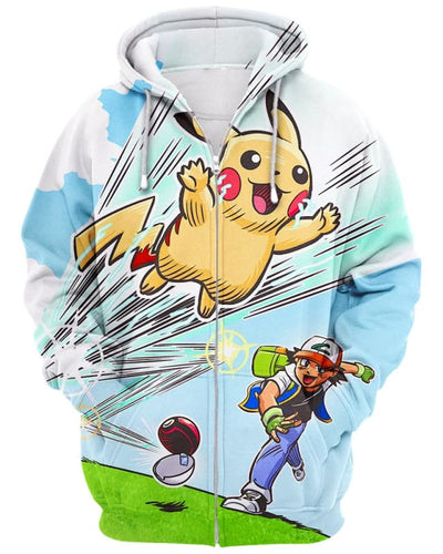 Gotta Catch 'Em All - All Over Apparel - Zip Hoodie / S - www.secrettees.com