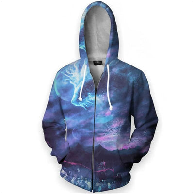 Great Forest Spirit God Galaxy - All Over Apparel - Zip Hoodie / S - www.secrettees.com