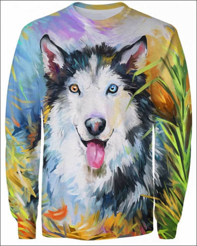 Husky Arylic Art - All Over Apparel - Sweatshirt / S - www.secrettees.com
