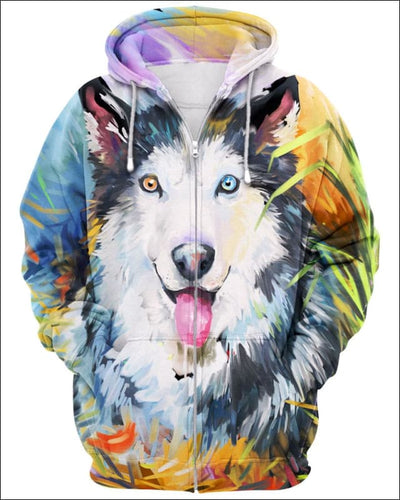 Husky Arylic Art - All Over Apparel - Zip Hoodie / S - www.secrettees.com