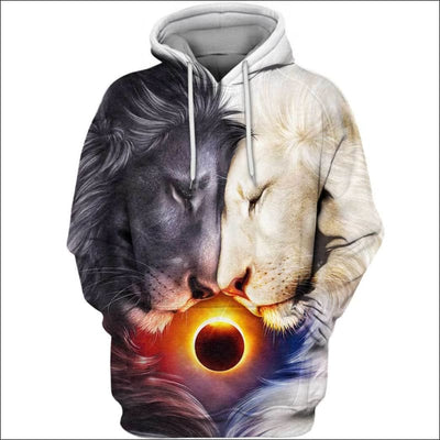 Lion Heart Day and Night 3D All Over Print T-shirt Zip Hoodie Sweater Tank - All Over Apparel - Hoodie / S - www.secrettees.com