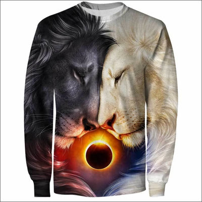 Lion Heart Day and Night 3D All Over Print T-shirt Zip Hoodie Sweater Tank - All Over Apparel - Sweatshirt / S - www.secrettees.com