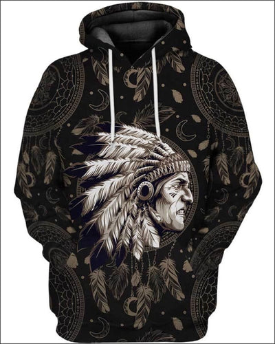 Native Indian Warrior - All Over Apparel - Hoodie / S - www.secrettees.com