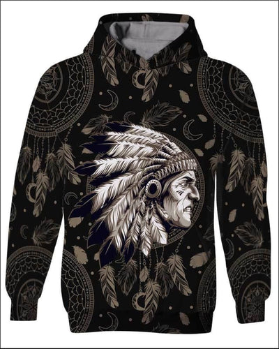 Native Indian Warrior - All Over Apparel - Kid Hoodie / S - www.secrettees.com