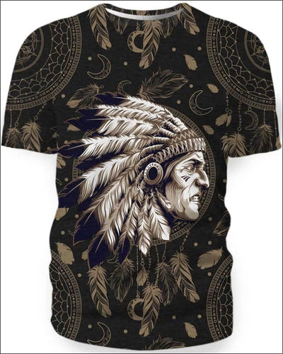 Native Indian Warrior - All Over Apparel - Kid Tee / S - www.secrettees.com