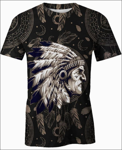 Native Indian Warrior - All Over Apparel - T-Shirt / S - www.secrettees.com