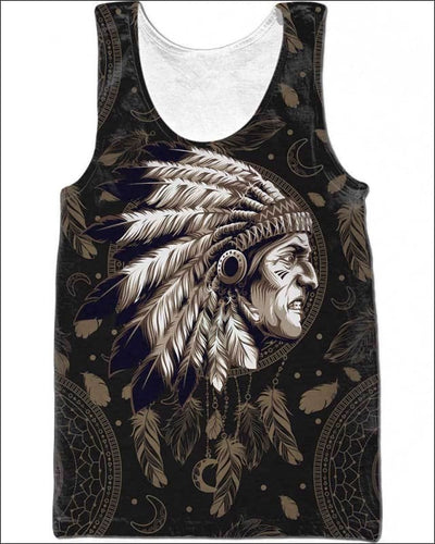 Native Indian Warrior - All Over Apparel - Tank Top / S - www.secrettees.com