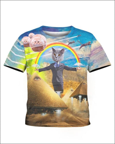 Pawtician Politician Rocket Pyramids Cat UFOs Rainbows 3D T-shirt - All Over Apparel - Kid Tee / S - www.secrettees.com