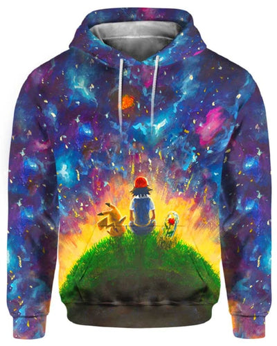 Peaceful Land Pikachu & Ash - All Over Apparel - Hoodie / S - www.secrettees.com