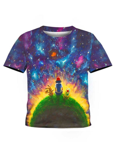 Peaceful Land Pikachu & Ash - All Over Apparel - Kid Tee / S - www.secrettees.com