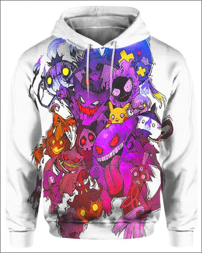 Pokemon Ghosts - All Over Apparel - Hoodie / S - www.secrettees.com