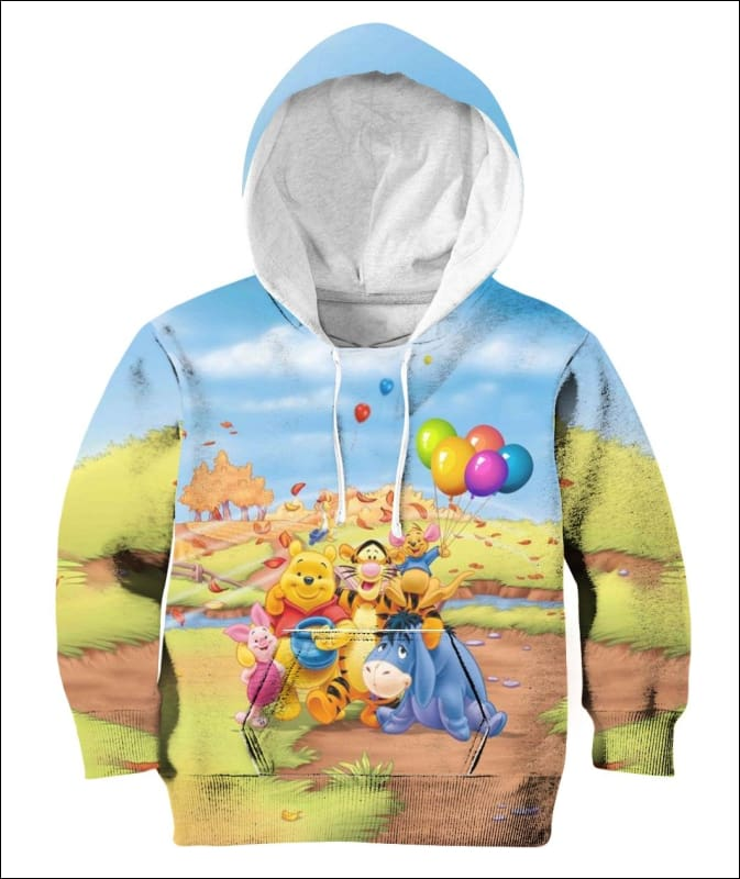 Pooh Balloon - All Over Apparel - Hoodie / M - www.secrettees.com