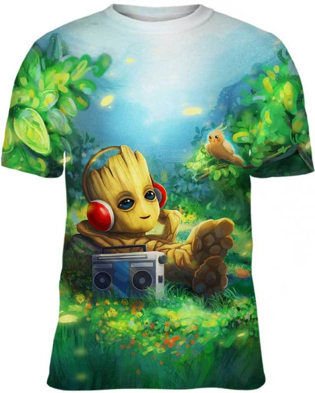 Relaxing Music With Groot - All Over Apparel - Hoodie / S - www.secrettees.com