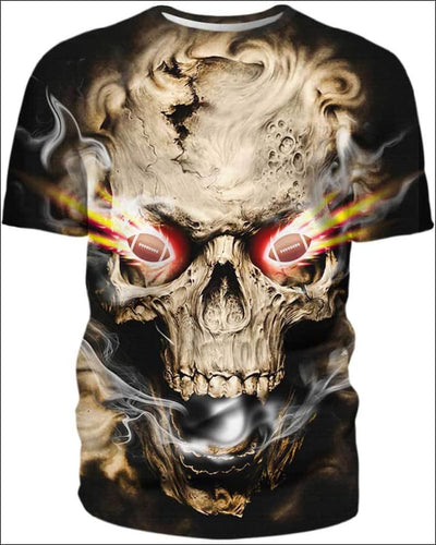 Skull With Football Eyes - All Over Apparel - T-Shirt / S - www.secrettees.com