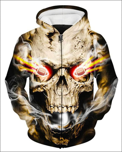 Skull With Football Eyes - All Over Apparel - Zip Hoodie / S - www.secrettees.com