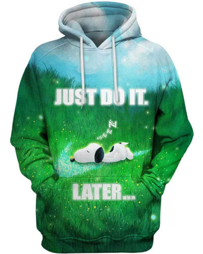 Snoopy - Just Do It Later - All Over Apparel - Hoodie / S - www.secrettees.com