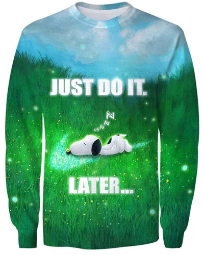 Snoopy - Just Do It Later - All Over Apparel - Sweatshirt / S - www.secrettees.com