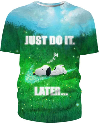 Snoopy - Just Do It Later - All Over Apparel - T-Shirt / S - www.secrettees.com