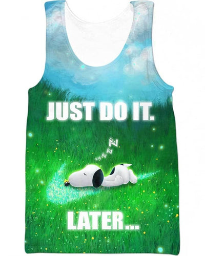 Snoopy - Just Do It Later - All Over Apparel - Tank Top / S - www.secrettees.com