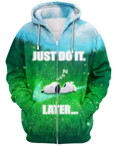 Snoopy - Just Do It Later - All Over Apparel - Zip Hoodie / S - www.secrettees.com