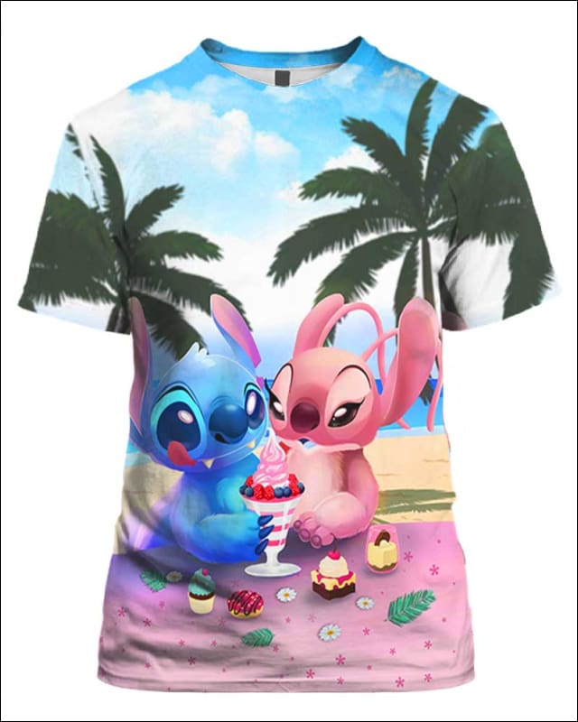 Stitch and His Girlfriend Eat Ice-cream - All Over Apparel - Hoodie / S - www.secrettees.com