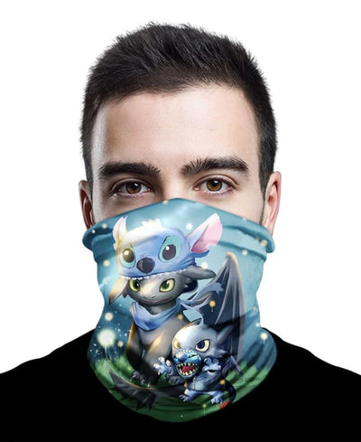 Stitch And Toothless Neck Gaiter Bandana - Bandana - 1 Pack / All Over Print - www.secrettees.com