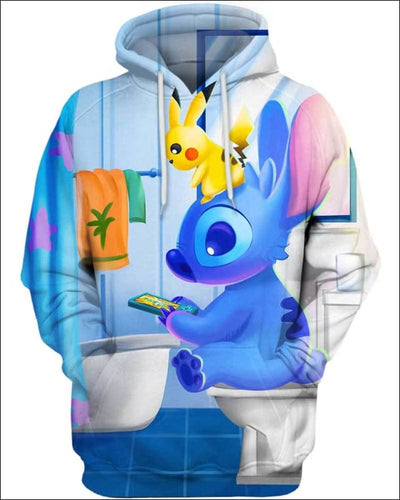 Stitch Sitting in Toilet - All Over Apparel - Hoodie / S - www.secrettees.com