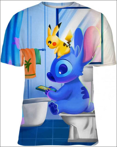 Stitch Sitting in Toilet - All Over Apparel - Kid Tee / S - www.secrettees.com