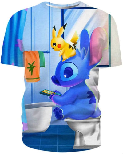 Stitch Sitting in Toilet - All Over Apparel - T-Shirt / S - www.secrettees.com