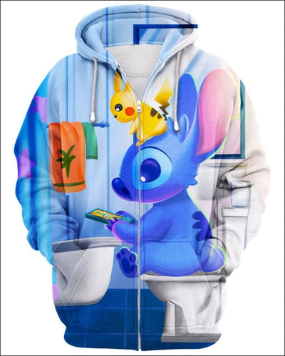 Stitch Sitting in Toilet - All Over Apparel - Zip Hoodie / S - www.secrettees.com