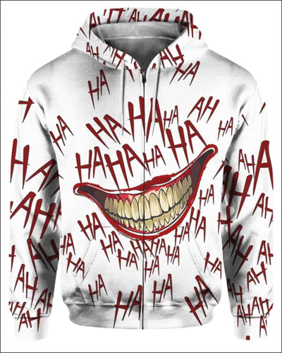 The Joker Laugh - All Over Apparel - Zip Hoodie / S - www.secrettees.com