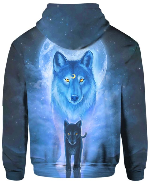 The Sun And Wolves Blue - All Over Apparel - Hoodie / S - www.secrettees.com