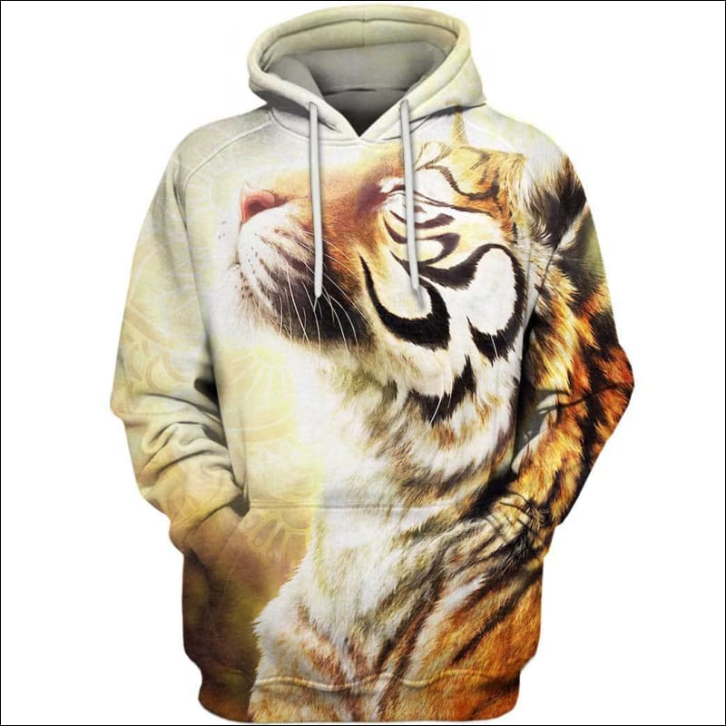 Tiger Buddhism 3D All Over Print T-shirt Zip Hoodie Sweater Tank - All Over Apparel - Hoodie / S - www.secrettees.com