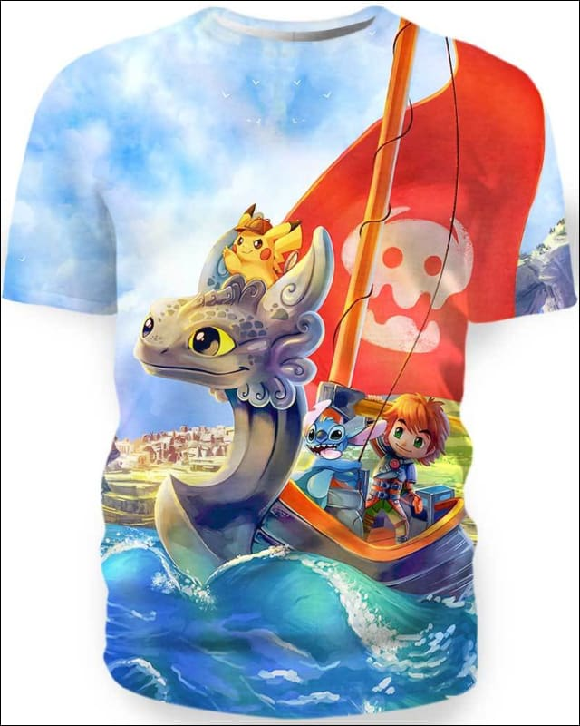 Toothless Boat And Friends - All Over Apparel - Hoodie / S - www.secrettees.com