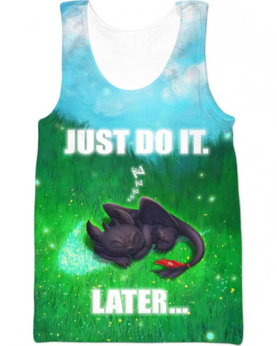 Toothless - Just Do It Later - All Over Apparel - Tank Top / S - www.secrettees.com
