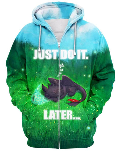 Toothless - Just Do It Later - All Over Apparel - Zip Hoodie / S - www.secrettees.com