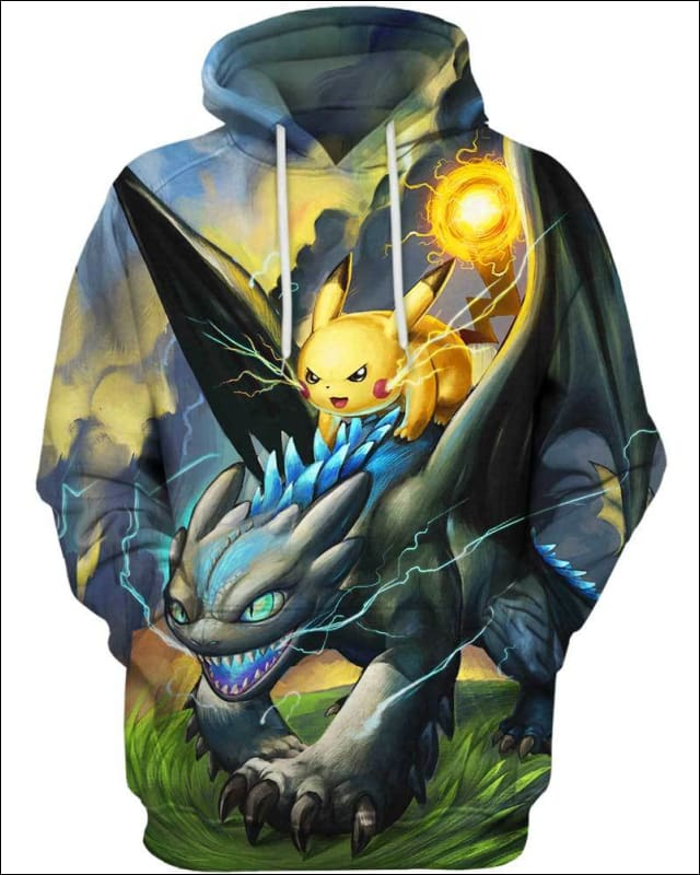 Toothless Pikachu Light - All Over Apparel - Hoodie / S - www.secrettees.com