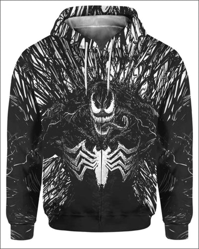 Venom Costume 3D - All Over Apparel - Zip Hoodie / S - www.secrettees.com