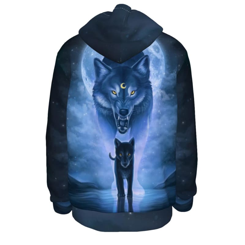 Wolf father and Son All-Over Print Unisex Pullover Hoodie - 2XL / White - www.secrettees.com