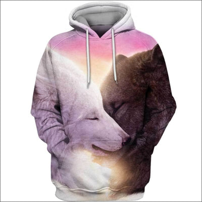 Wolf Heart Love 3D All Over Print T-shirt Zip Hoodie Sweater Tank - All Over Apparel - Hoodie / S - www.secrettees.com