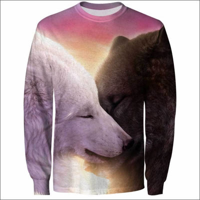 Wolf Heart Love 3D All Over Print T-shirt Zip Hoodie Sweater Tank - All Over Apparel - Sweatshirt / S - www.secrettees.com