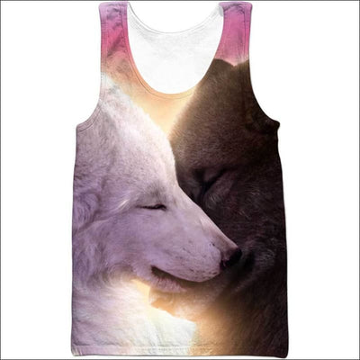 Wolf Heart Love 3D All Over Print T-shirt Zip Hoodie Sweater Tank - All Over Apparel - Tank Top / S - www.secrettees.com