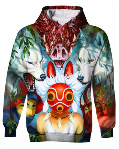 Wolf Princess Mask - All Over Apparel - Kid Hoodie / S - www.secrettees.com