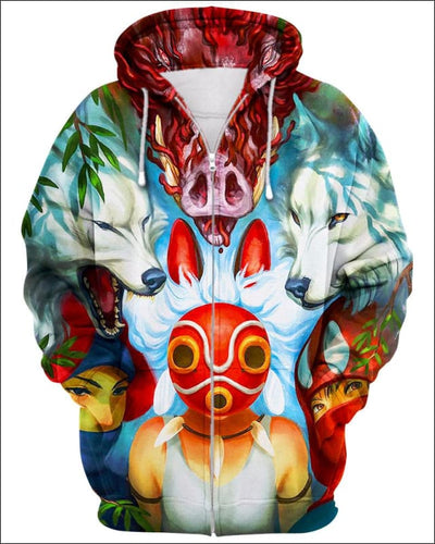 Wolf Princess Mask - All Over Apparel - Zip Hoodie / S - www.secrettees.com