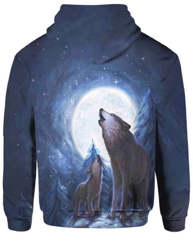 Wolves Moon Night - All Over Apparel - Hoodie / S - www.secrettees.com